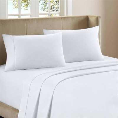 King 300 Thread Count Organic Cotton Brushed Percale Sheet Set Arctic White - Purity Home