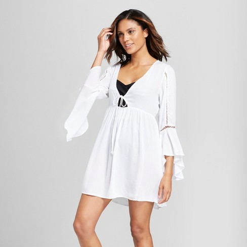 Mango Reef Women's Bell Sleeve Tie Front Cover Up Dress - image 1 of 2