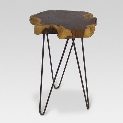 Gentil Live Edge Accent Table Brown   Threshold™