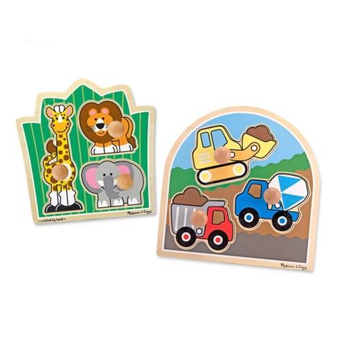 Melissa & Doug Jumbo Knob Wooden Puzzles Set - Construction and Safari 6pc - image 1 of 4