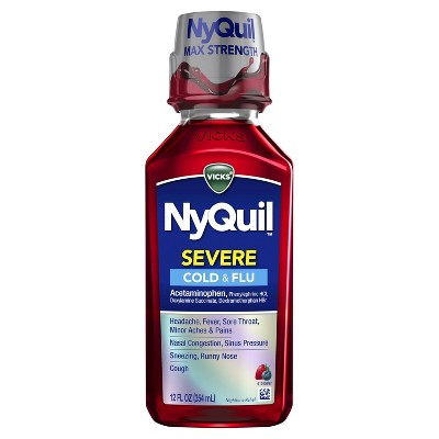Vicks NyQuil Severe Cold & Flu Relief Liquid - Acetaminophen - Berry - 12 fl oz