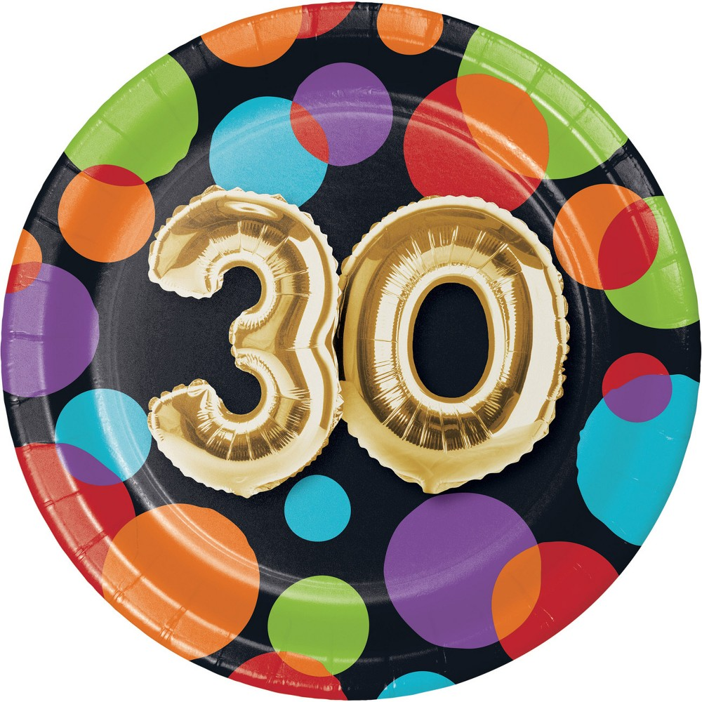24ct Balloon 30th Birthday Dessert Plates Gold