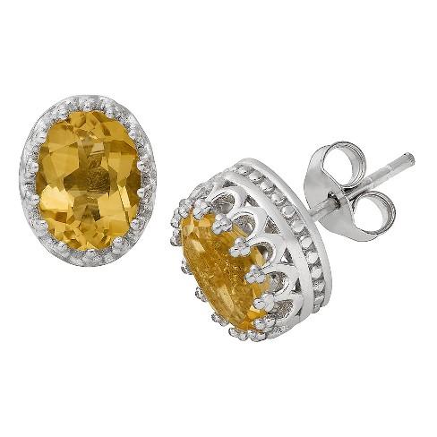 2 3/7 TCW Tiara Sterling Silver Oval-Cut Citrine Crown Earrings - image 1 of 1