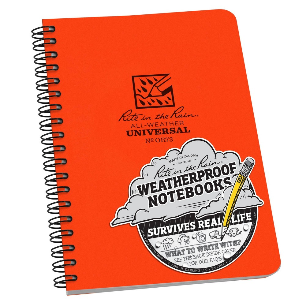 Image of 1 Subject Special Rule All Weather Spiral Notebook Orange - Rite in the Rain