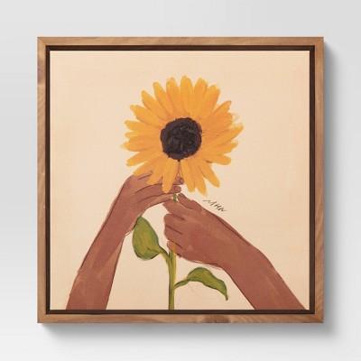 "10"" x 10"" Sunflower by Morgan Harper Nichols Framed Wall Art Canvas Blue"