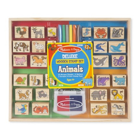Melissa & Doug Deluxe Wooden Stamp Set - Animals - image 1 of 4