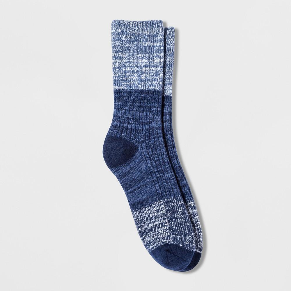 Cuddl Duds Women's Spacedye Color Block Rib Crew Boot Socks - Blue 9-11, Medieval Blue