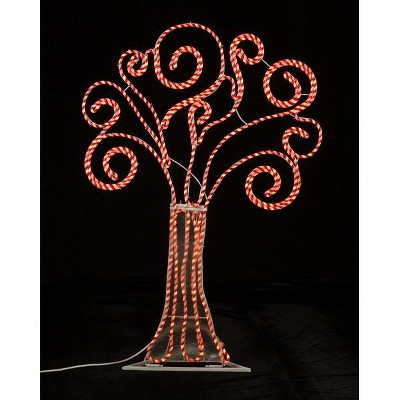 Roman 4' Pre-Lit Artificial Christmas Tree Peppermint Twist Swirl Decoration - Red Lights