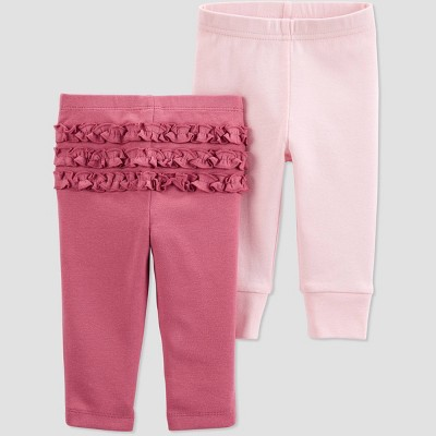 Baby Girls' 2pk Ruffle Pull-On Pants - Just One You® made by carter's Pink Newborn