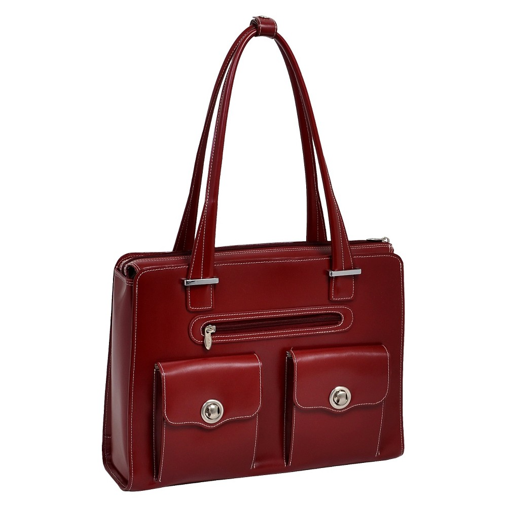 McKlein Verona 15 Leather Fly-Through Checkpoint-Friendly Ladies' Laptop Briefcase (Red)