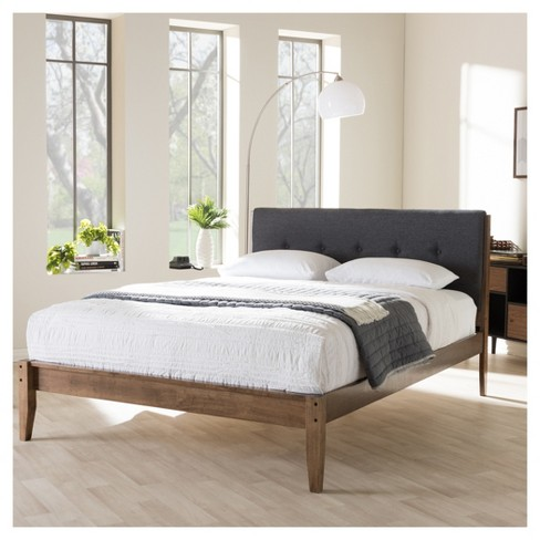 Leyton Mid Century Modern Fabric Upholstered Platform Bed Queen