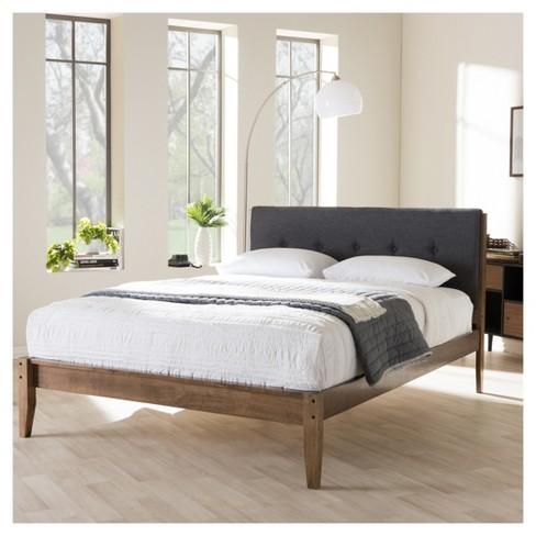 . Leyton Mid   Century Modern Fabric Upholstered Platform Bed   Queen   Gray    Walnut  Brown   Baxton Studio