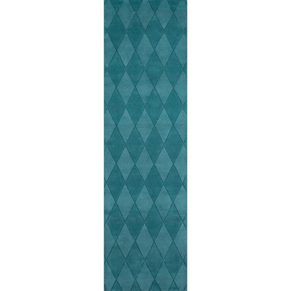 Teal (Blue) Diamond Loomed Runner 2'3x8' - Momeni