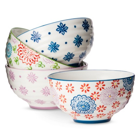Floral Ceramic Assorted Cereal Bowl Set 24oz 4pk - Multicolored - image 1 of 1