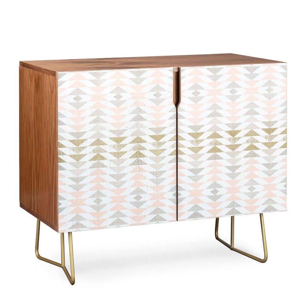 Georgiana Paraschiv Triangles Credenza Gold Legs Pink/Shapes - Deny Designs, Pink/Gold Legs