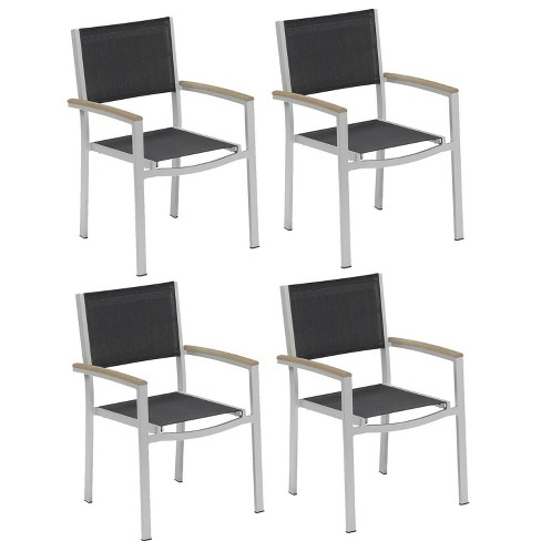 Travira 4pk Sling Armchair with Powder Coated Aluminum Frame and Vintage Teakwood Armcaps - Black - Oxford Garden - image 1 of 4