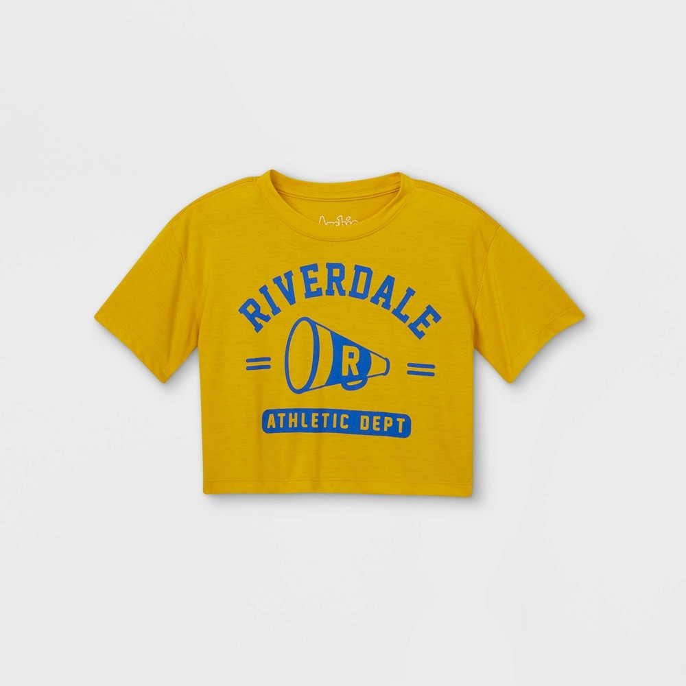 Girls 39 Riverdale Short Sleeve Cropped Graphic T Shirt Gold L