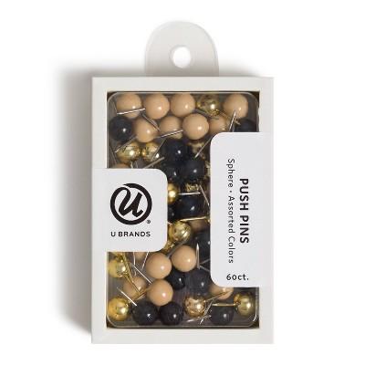 U Brands 60ct Sphere Push Pins