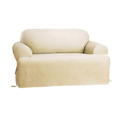 Cotton Duck Tcushion Loveseat Slipcover Natural - Sure Fit