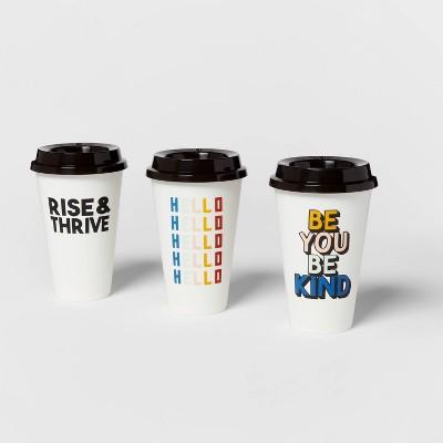 16oz 3pk Plastic Reusable Coffee Cup Assorted Designs - Room Essentials™