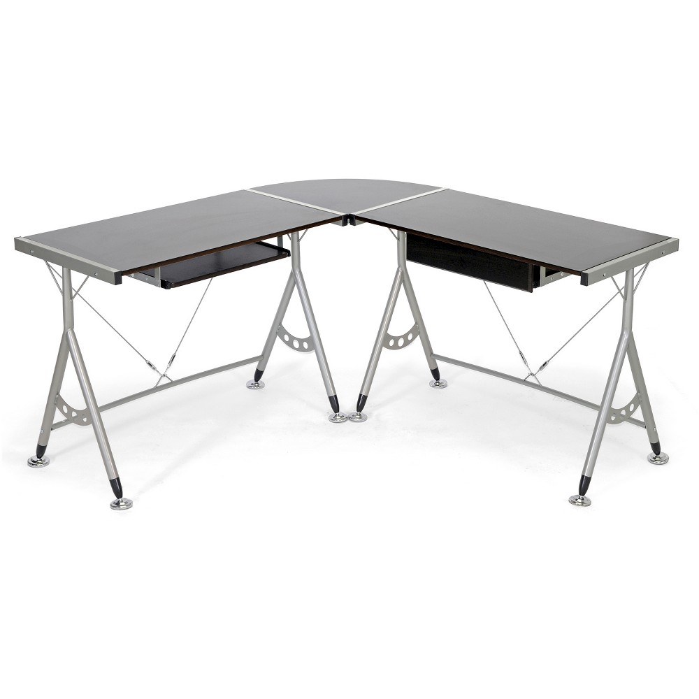 Elburn L-Shaped Modern Computer Desk Dark Brown - Baxton Studio, Black Espresso