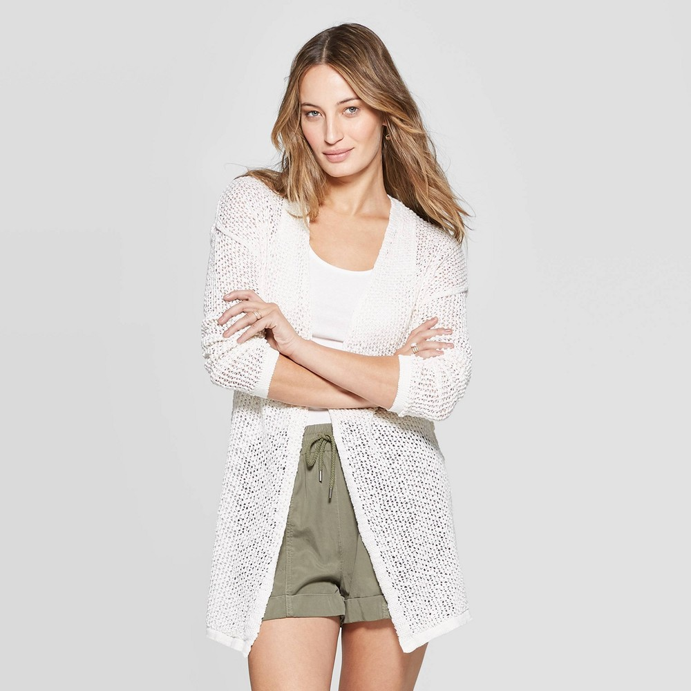 Women's Long Sleeve Open Stitch Open Layering - Universal Thread White L, Ivory