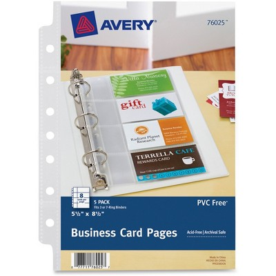 "Avery Business Card Pages, 7HP, 5-1/2""x8-1/2"", 8 Slot/Pg, 5/PK, CL 76025"