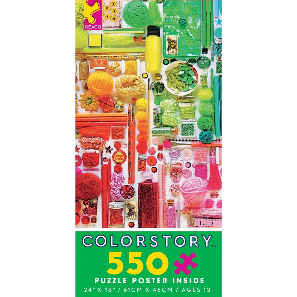 Ceaco ColorStory: Rainbow Craft 550pc 550pc jigsaw puzzle. A rainbow of colorful craft supplies. Made in USA. 24 x18  puzzle size when completed. Gender: Unisex.
