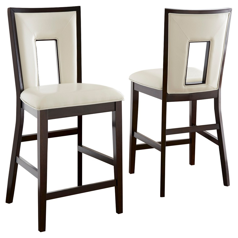 Broward Counter Height Dining Chairs Wood/White/Brown (Set of 2) - Steve Silver Company