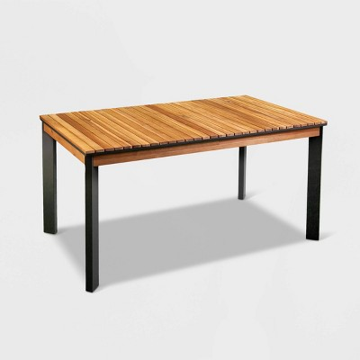 Vyza Patio Dining Table - Brown with Black - Aiden Lane