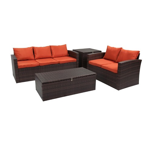 4pc Rio All-Weather Wicker Conversation Set with Storage - Thy-Hom - image 1 of 7