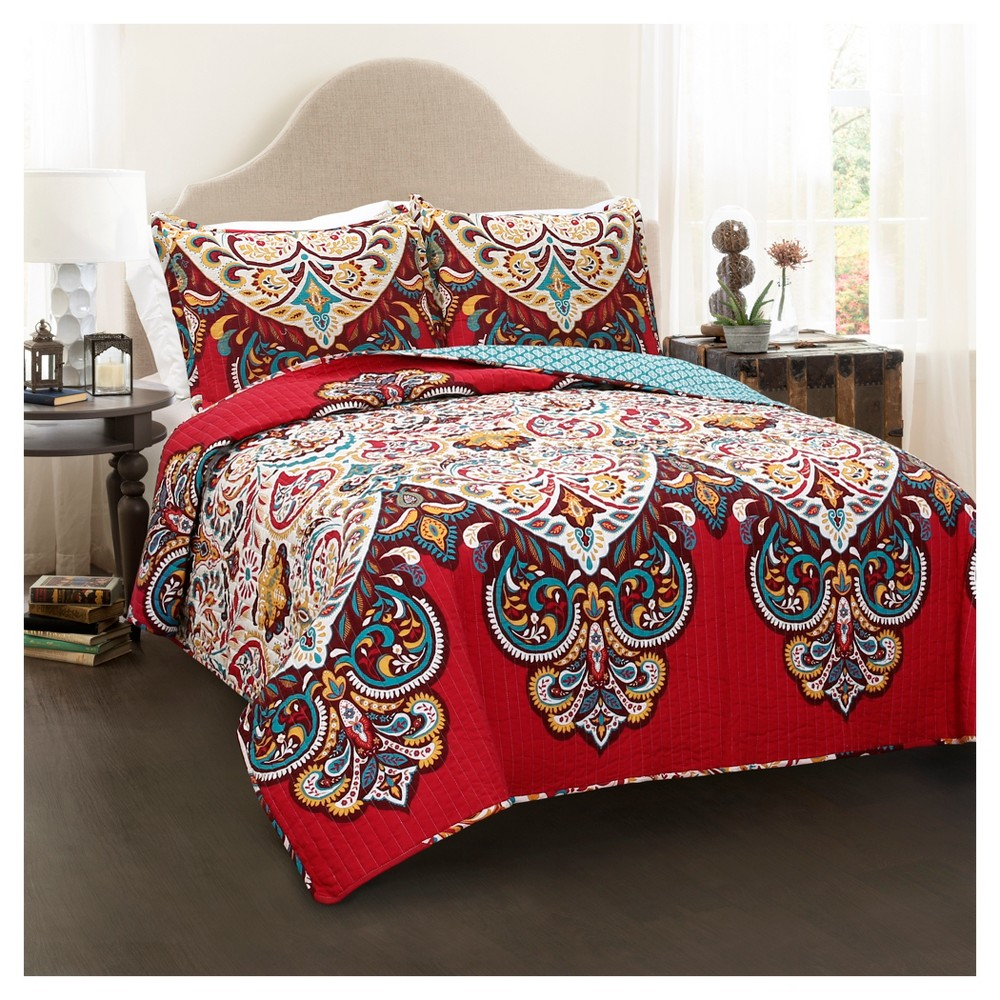 Red Boho Chic Quilt Red Set (Full/Queen) 3pc - Lush Decor