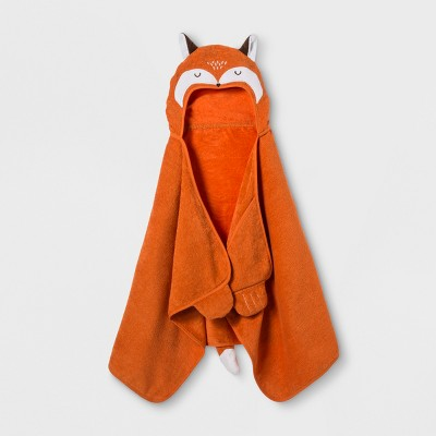 Fox Hooded Bath Towel Wild Orange - Pillowfort™