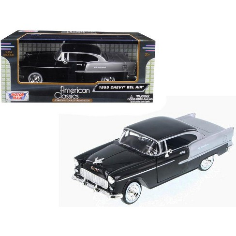1955 Chevrolet Bel Air Black And Silver 124 Diecast Model Car By