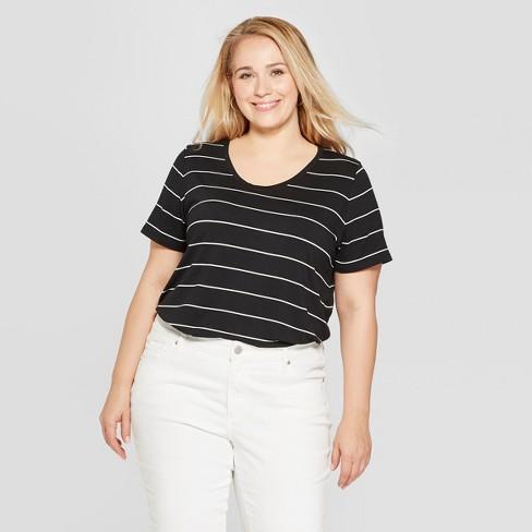 7e9c2e408 Women's Plus Size Striped Short Sleeve Scoop Neck Relaxed T-Shirt - Ava &  Viv™ Black/White
