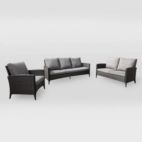 Parkview 3pc Sofa Loveseat Chair Patio Set - Charcoal - CorLiving - image 1 of 7