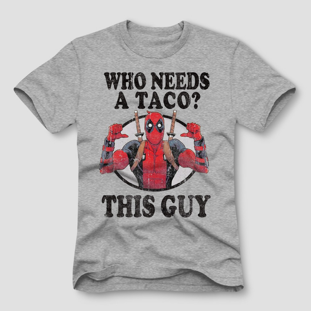 Men's Marvel Deadpool Short Sleeve Graphic T-Shirt - Gray 2XL
