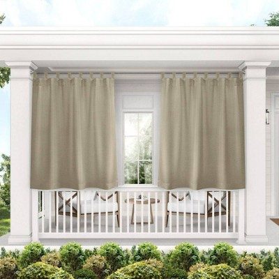 Set of 2 Indoor/Outdoor Solid Cabana Tab Top Curtain Panels Taupe - Exclusive Home