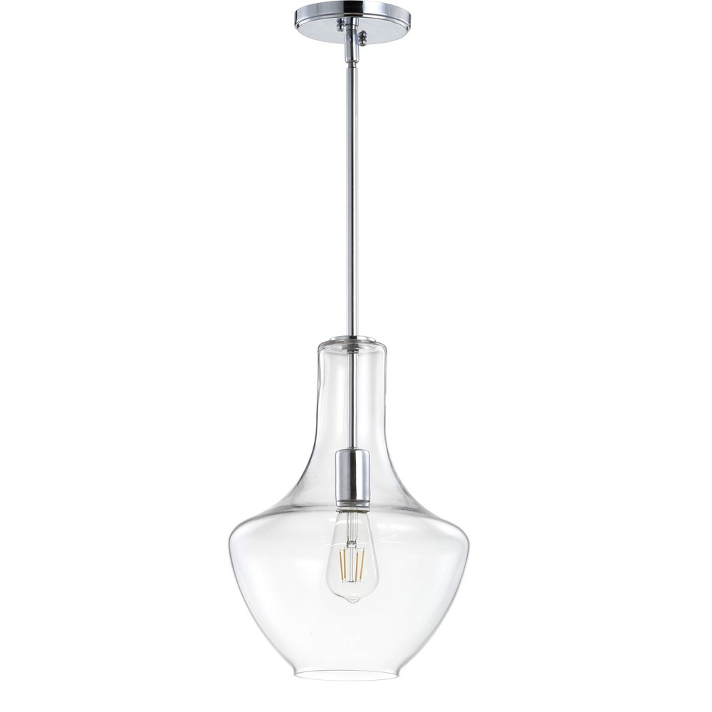 "Image of ""10.5"""" Watts Glass/Metal LED Pendant Chrome (Includes Energy Efficient Light Bulb) - JONATHAN Y, Grey"""