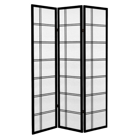 6 ft. Tall Canvas Double Cross Room Divider - Black (3 Panels) - image 1 of 1