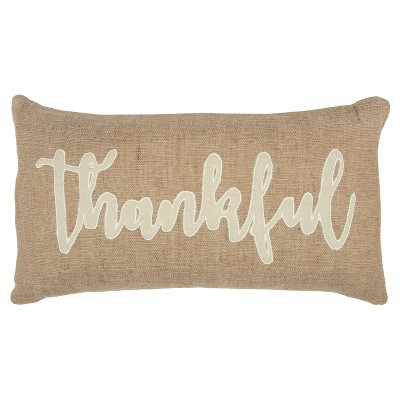 """14""""x26"""" Oversized Thankful Polyester Filled Throw Pillow Natural - Rizzy Home"""