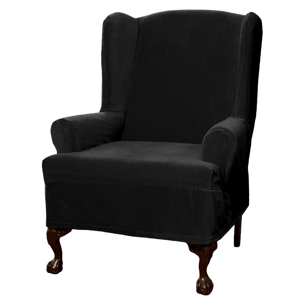 Image of Black Collin Stretch Wingchair Slipcover - Maytex