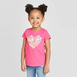 Toddler Girls' Short Sleeve Floral Heart Graphic T-Shirt - Cat & Jack™ Pink