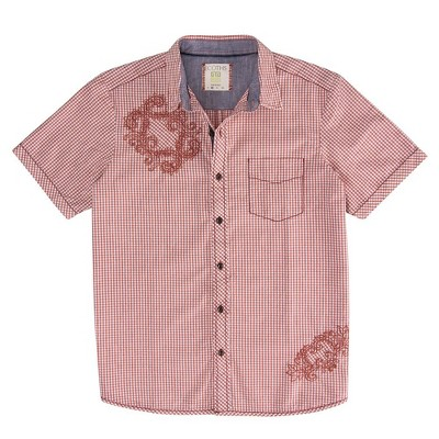 Ecoths Mens Check Relaxed Fit Short Sleeve Collared Button Down Shirt - Red Large