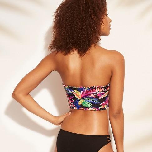 39b02e5363f Women's Smocked Bandeau Bikini Top - Shade & Shore™ Black Tropical ...
