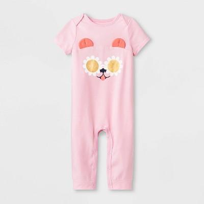 Baby Girls' Short Sleeve Puppy Ear Romper - Cat & Jack™ Pink 0-3M