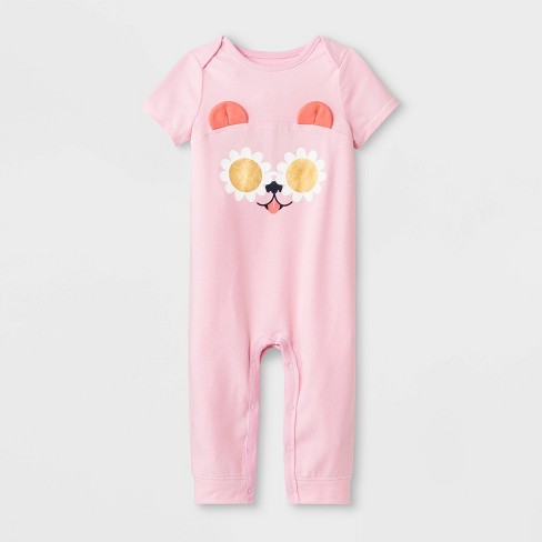 Baby Girls' Short Sleeve Puppy Ear Romper - Cat & Jack™ Pink - image 1 of 1