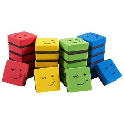 """24 Pack Magnetic Whiteboard Erasers, Colorful Small Dry Erase Board Cleaner Bulk for Classroom, Office 1.9 x 1.9 x 0.7"""""""