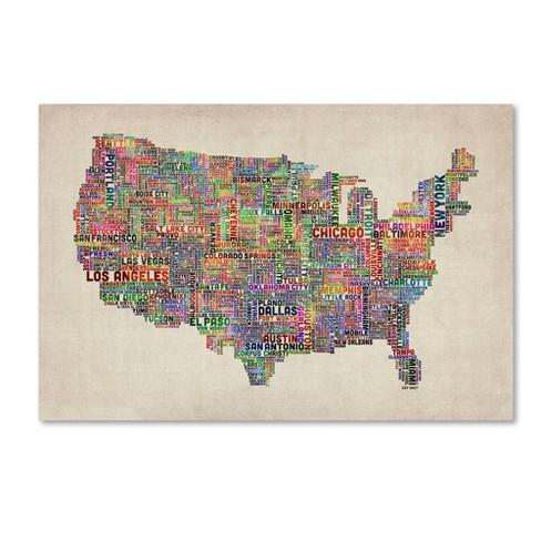 "22"" x 32"" US Cities Text Map VI by Michael Tompsett - Trademark Fine Art - image 1 of 4"