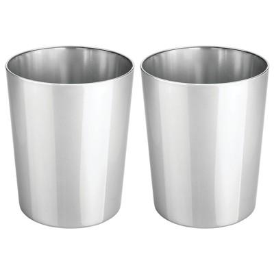 mDesign Round Metal Small Trash Can Wastebasket, Garbage Bin, 2 Pack